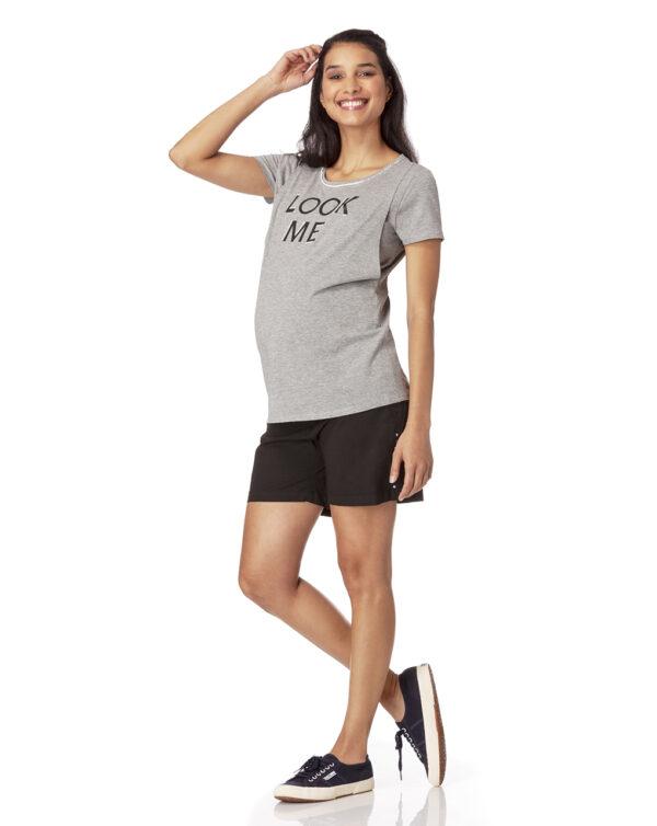 Camiseta de lactancia gris claro jaspeado - Prénatal