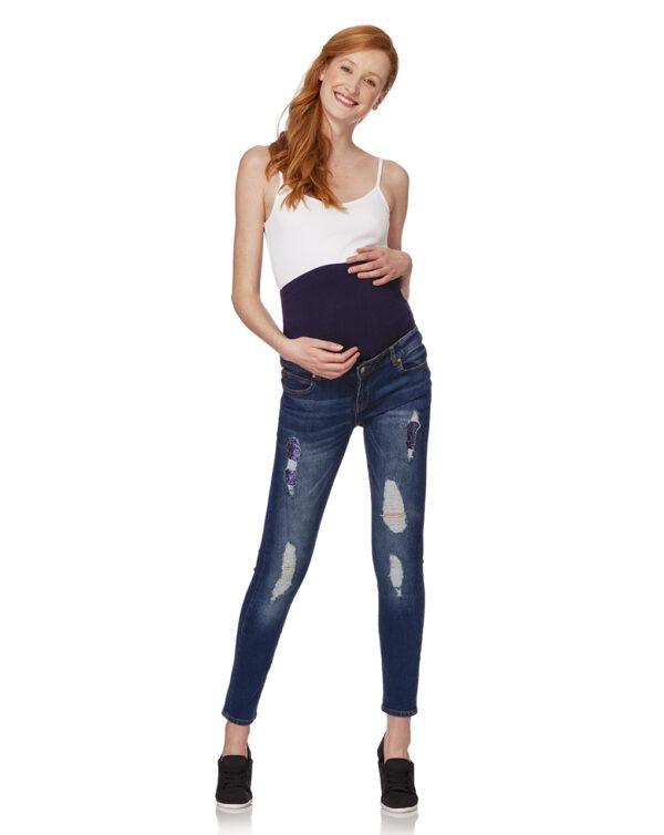 Pantalón denim azul oscuro con lentejuelas - Prénatal
