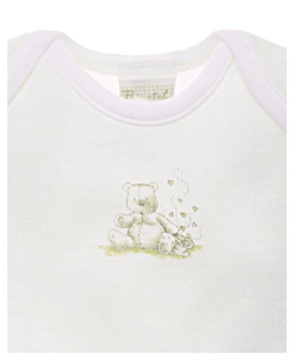 Camiseta de manga corta de lana/algodón con osito - Prénatal
