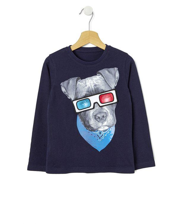 T-shirt imprimé avec un chien et des lunettes 3D amovibles imprimés - Prenatal 2