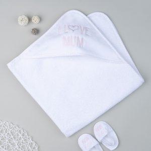 Μπουρνούζι Λευκό με Παντόφλες για Κορίτσι