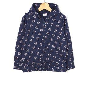 Ζακέτα Φούτερ Basic Σκούρο Μπλε με Καρδούλες για Κορίτσι