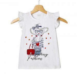 T-Shirt Jersey Λευκό με Στάμπα Κοριτσάκι Μεγ.8-9/9-10 Ετών για Κορίτσι