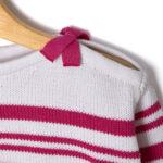Μπλούζα Πλεκτή Ριγέ με Φιογκάκια για Κορίτσι