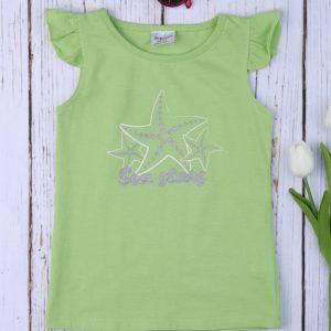 Αμάνικο Μπλουζάκι Πράσινο με Στάμπα Αστερίες για Κορίτσι