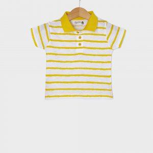 T-shirt Jersey Πόλο Ριγέ Κίτρινο για Αγόρι