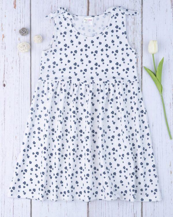Φόρεμα Αμάνικο Jersey Λευκό με Λουλουδάκια για Κορίτσι