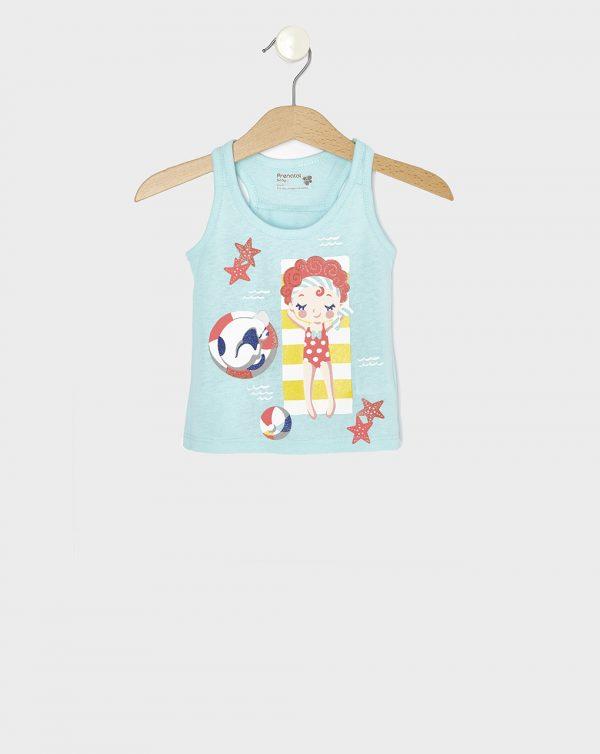 Αμάνικο Μπλουζάκι Γαλάζιο με Στάμπα Κοριτσάκι για Κορίτσι