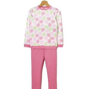 Πιτζάμα Βαμβακερή Ροζ με Λουλούδια για Κορίτσι