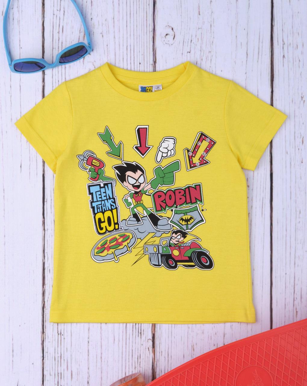 T-Shirt Κίτρινο με Στάμπα Teen Titans Go για Αγόρι