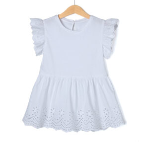 T-shirt Jersey Λευκό με Δαντέλα