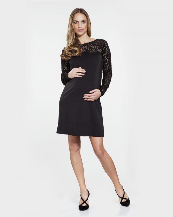 Γυναικείο Φόρεμα Μαύρο με Δαντέλα