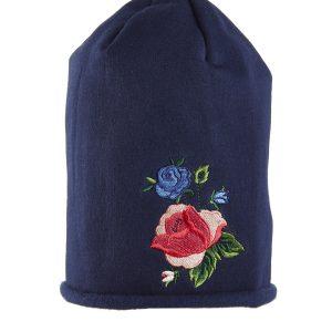 Σκουφί Μπλε Σκούρο με Κέντημα Τριαντάφυλλο για Κορίτσι