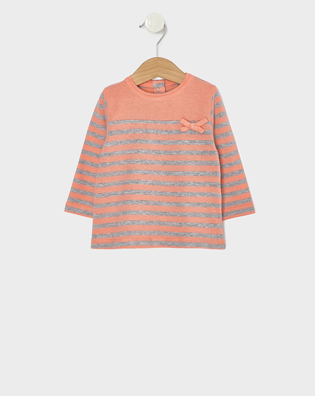 T-shirt Βasic Ριγέ Σομόν για Κορίτσι