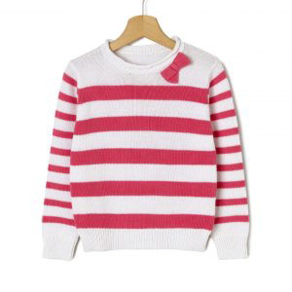 Μπλούζα Μακρυμάνικη Πλεκτή με Ρίγες και Ροζ Φιόγκο Μεγ.8-9/9-10 Ετών για Κορίτσι