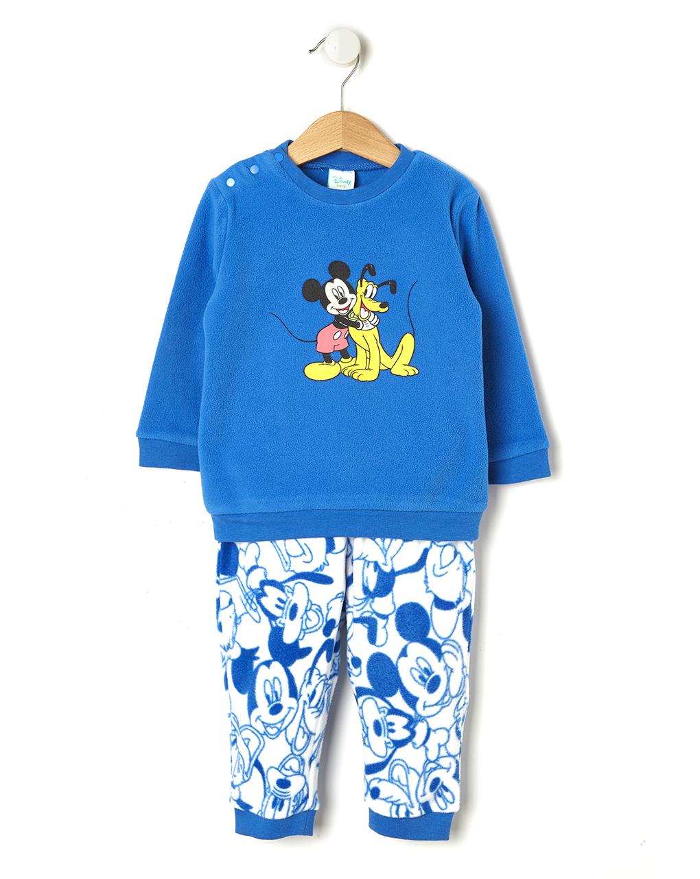 Πιτζάμα Μπλε 2 τεμαχίων από Fleece για Αγόρι με Μίκυ και Πλούτο
