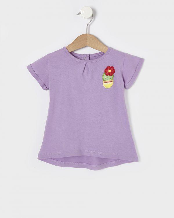 T-Shirt Jersey Λιλά με Κεντητό Λουλουδάκι για Κορίτσι