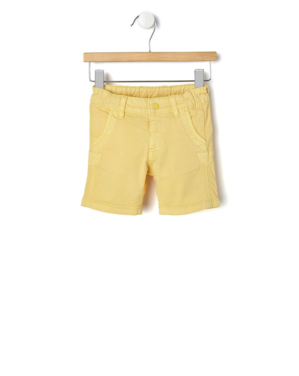 Βερμούδα Twill Κίτρινη με Ρεβέρ για Αγόρι