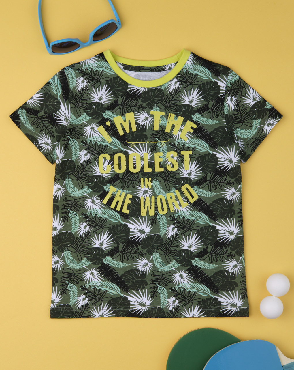 T-Shirt Jersey Πολύχρωμη με Στάμπα για Αγόρι