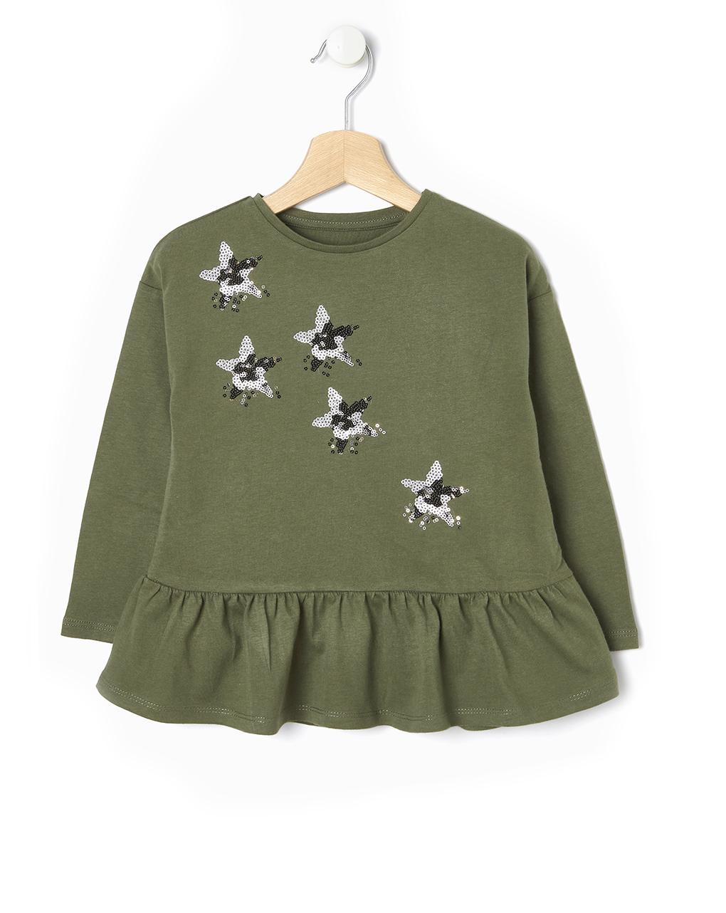 Maxi t-shirt Χακί με Αστεράκια από Παγιέτες για Κορίτσι