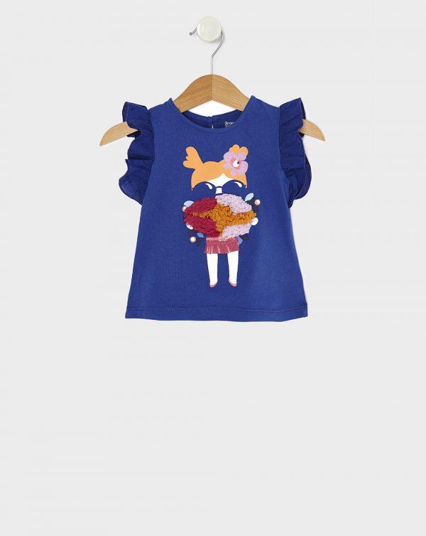 Αμάνικο Μπλουζάκι Jersey Μπλε με Στάμπα και Ένθετο για Κορίτσι