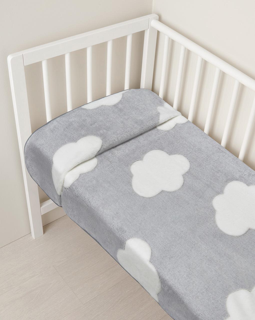 Κουβέρτα για λίκνο με συννεφάκια  70 x 80 cm