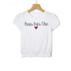 T-Shirt Jersey Λευκό με Στάμπα και Σούρα Μεγ.8-9/9-10 Ετών για Κορίτσι
