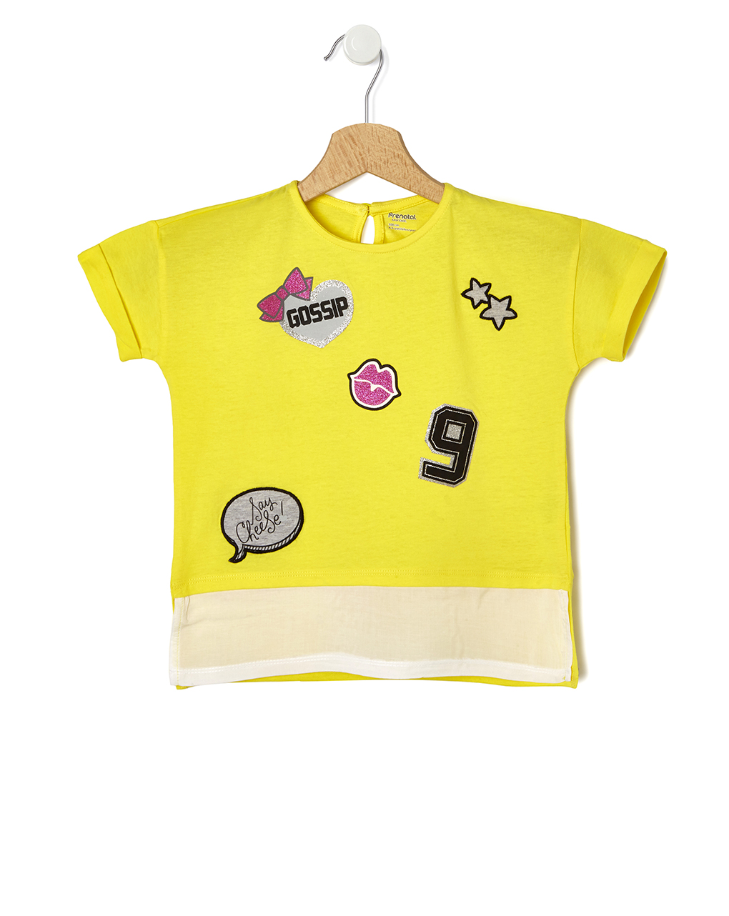 Maxi t-shirt Κίτρινο με Patch για Κορίτσι