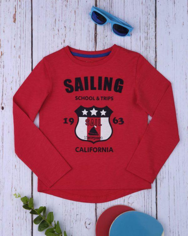 Μπλούζα Μακρυμάνικη Κόκκινη με Στάμπα για Αγόρι