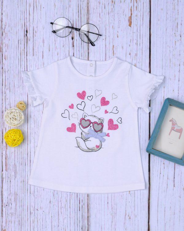 T-Shirt Jersey Λευκό με Sangallo για Κορίτσι