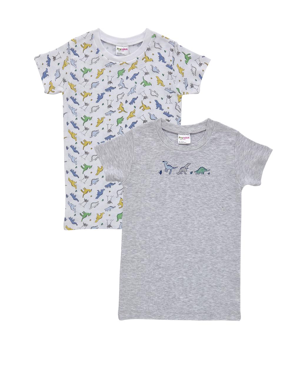 T-shirt Πακέτο Χ2 με Δεινόσαυρους για Αγόρι