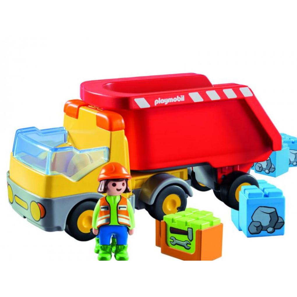 Playmobil 1.2.3 Ανατρεπόμενο Φορτηγό Με Εργάτη 70126