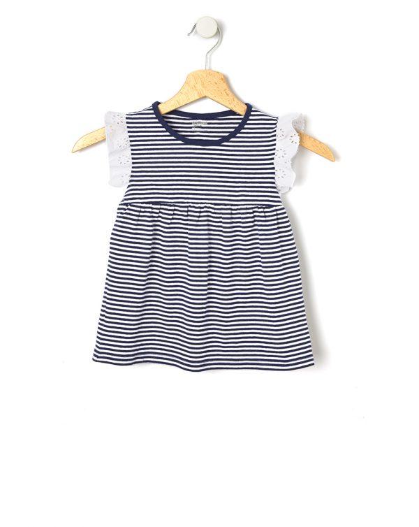 T-Shirt Ριγέ με Λεπτομέρειες Sangallo για Κορίτσι