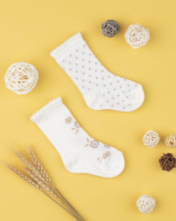 Κάλτσες x2 από Οργανικό Βαμβάκι για Κορίτσι