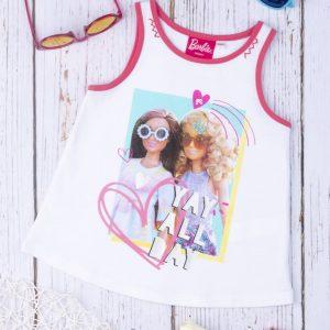 Αμάνικο Μπλουζάκι Λευκό με Στάμπα Barbie για Κορίτσι