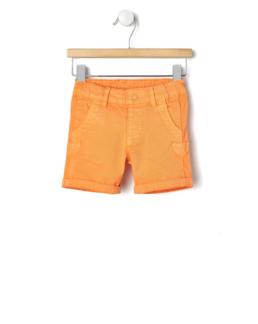 Βερμούδα Twill Πορτοκαλί με Ρεβέρ για Αγόρι