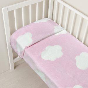Κουβέρτα για Λίκνο Γούνινη με Συννεφάκια Ροζ