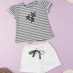 T-shirt Jersey Ριγέ με Στάμπα για Κορίτσι