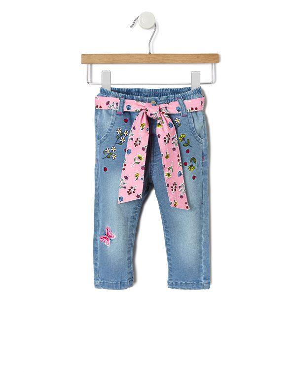 Παντελόνι Denim με Κεντήματα για Κορίτσι