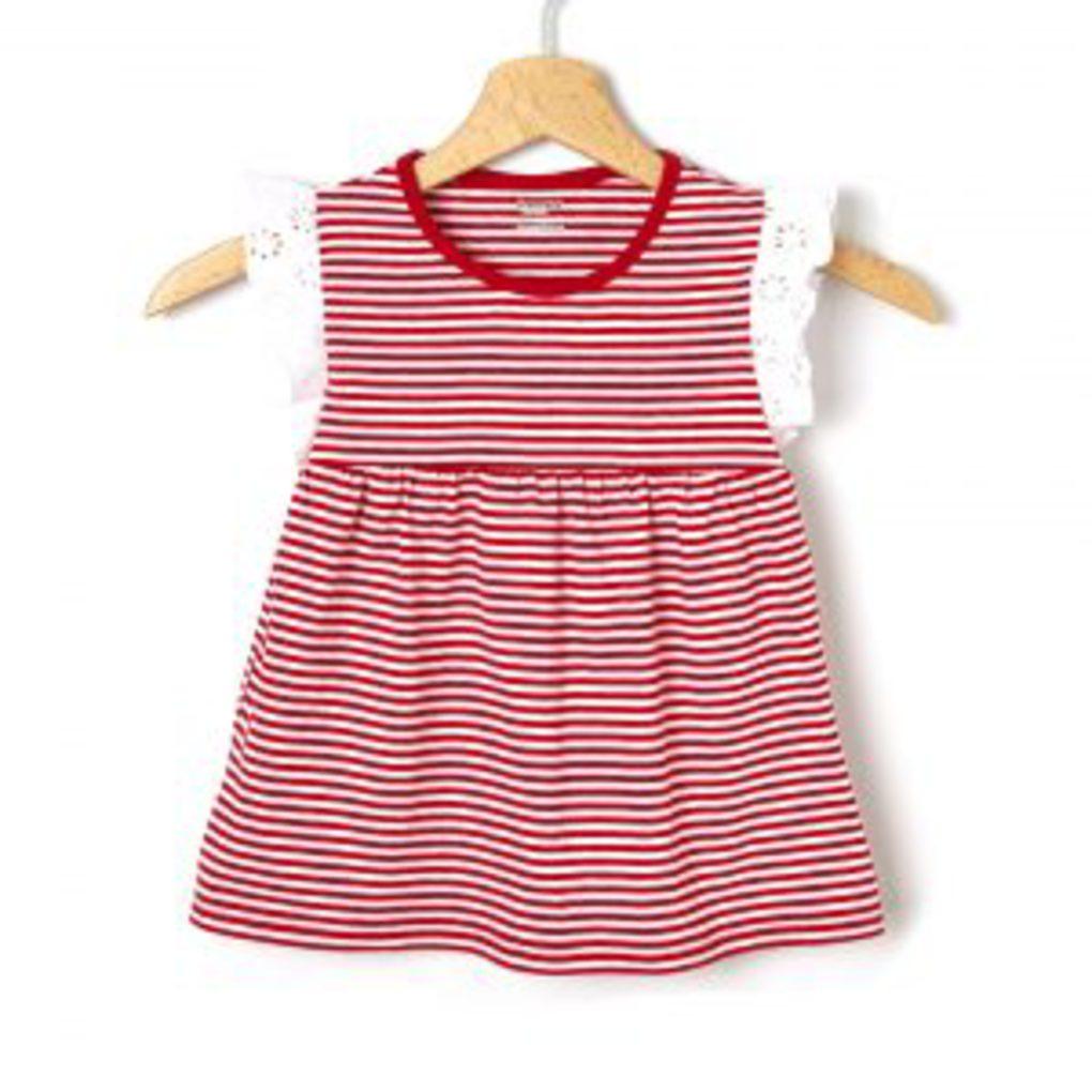 T-Shirt Βαμβακερό Ριγέ Κόκκινο με Λεπτομέρειες Δαντέλας Μεγ.8-9/9-10 Ετών για Κορίτσι
