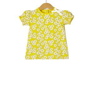 T-Shirt Jersey Κίτρινο με Στάμπα Λουλούδια για Κορίτσι