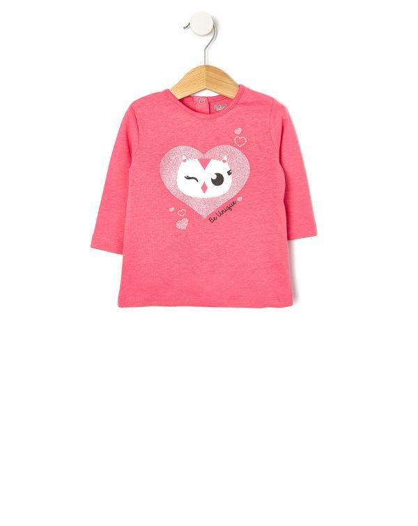 Μπλούζα Ροζ με Στάμπα για Κορίτσι