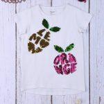 T-Shirt Jersey Λευκό με Παγιέτες για Κορίτσι