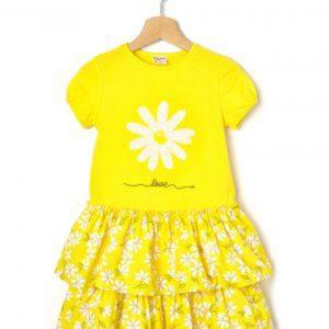 Φόρεμα Jersey Popeline Κίτρινο με Στάμπα Μεγ.8-9/9-10 Ετών για Κορίτσι