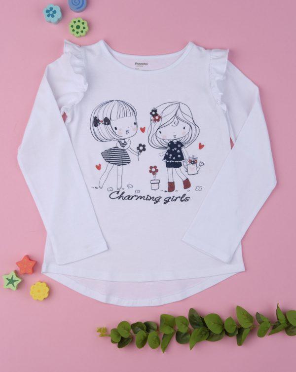 Μπλούζα Μακρυμάνικη Λευκή με Στάμπα για Κορίτσι