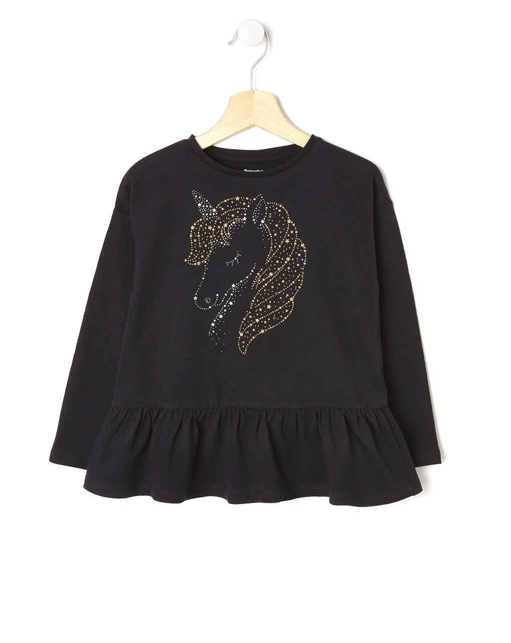 Maxi T-shirt με Μονόκερο Μαύρο για Κορίτσι