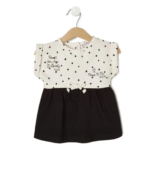 Φόρεμα Φούτερ Πουά Εκρού-Μαύρο για Κορίτσι