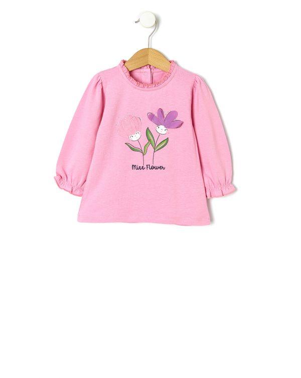 Μπλούζα Jersey με Στάμπα Λουλούδια Ροζ για Κορίτσι