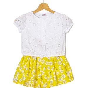 Σετ T-Shirt Sangallo και Σορτσάκι Popeline για Κορίτσι