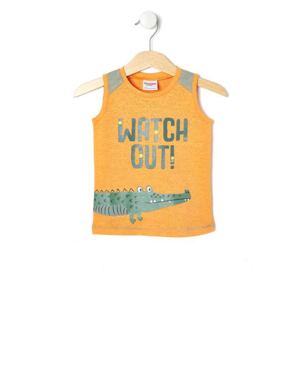 Μπλούζα Αμάνικη Πορτοκαλί με Κροκόδειλο για Αγόρι